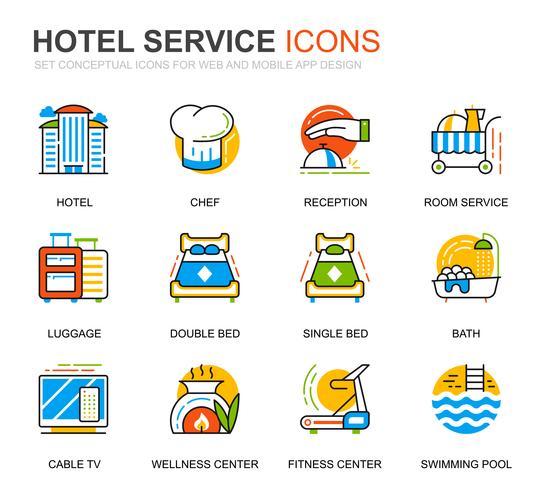 Icônes de ligne de services hôteliers simples pour sites Web et applications mobiles