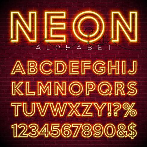 Alfabeto de neón brillante