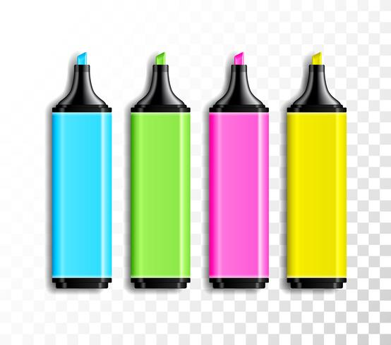 Design set of colored highlighter pens