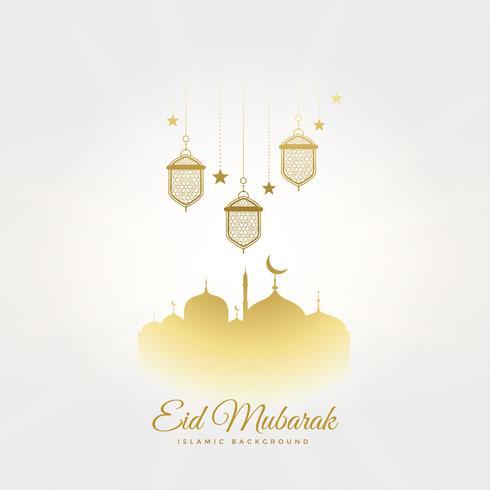 Elegante saludo del festival eid mubarak con lámparas y mezquita.