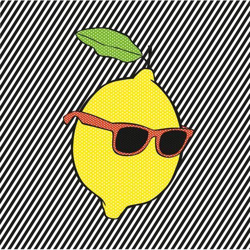 Pop limão com um óculos de sol no fundo de linhas