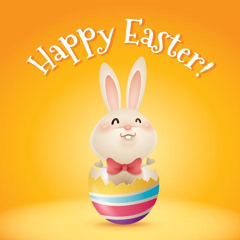 bunny inside a cracked easter egg