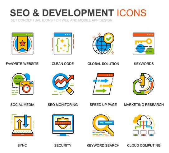 Simple Set SEO und Development Line Icons für Website und Mobile Apps