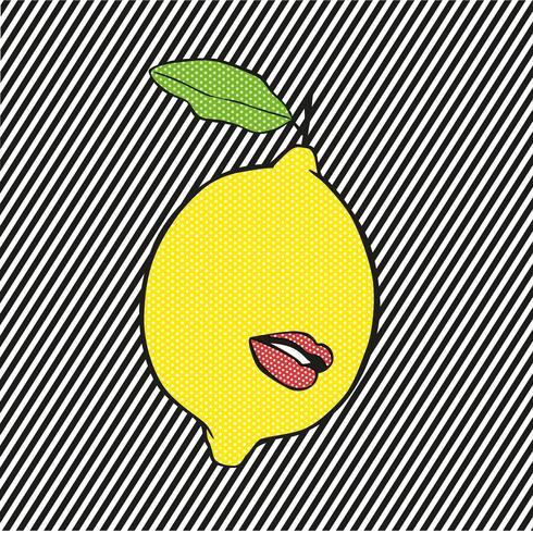 Pop citroen met lippen en lijnenachtergrond