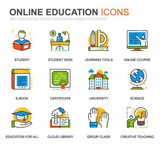 Einfaches Set für Bildung und Wissenssymbole für Websites und mobile Apps