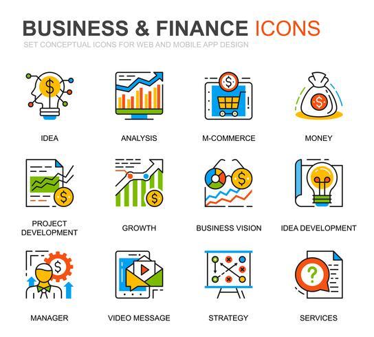 Enkel uppsättning affärs- och finanslinjeikoner för webbplats- och mobilapps