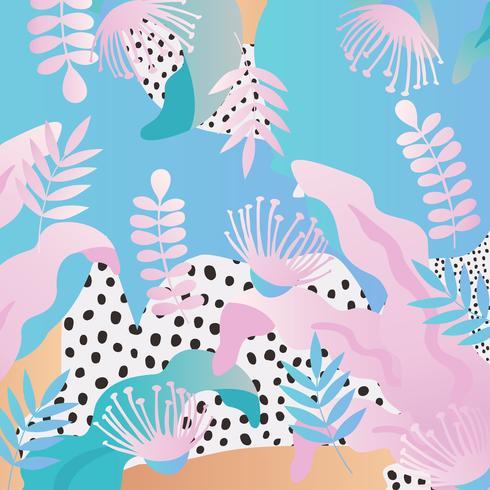 Fondo de hojas y flores de selva tropical. Diseño colorido cartel tropical vector