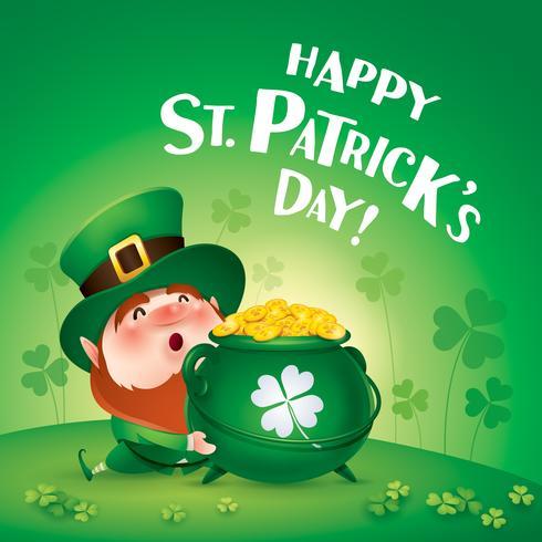 tecknad leprechaun i grön topp hatt