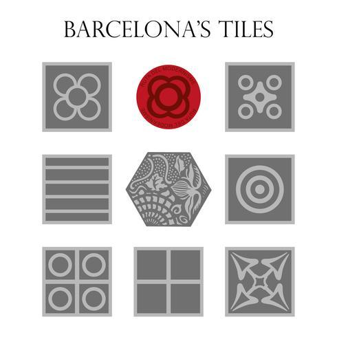 Ensemble de Panots, chaussée moderniste typique, hydraulique de Barcelone.