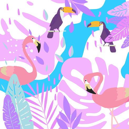 Tropical jungle leaves background with flamingos and toucans vector