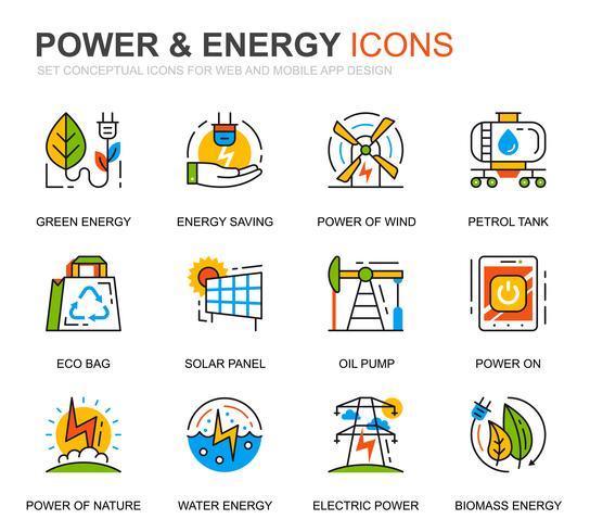 Conjunto simple de iconos de la industria de energía y de la línea de energía para aplicaciones web y móviles vector