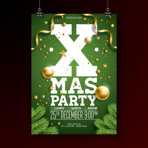 Christmas Party Flyer Design  vector