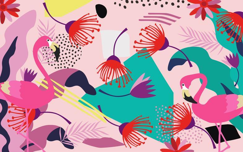 Tropische jungle bladeren en bloemen poster achtergrond met flamingo's. Kleurrijke exotische bladeren, bloemen, planten en takken, kunstdruk. Botanisch patroon, behang, ontwerp van de stoffen het vectorillustratie