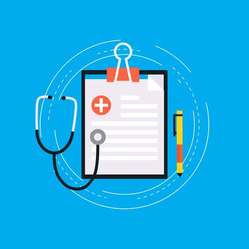 Projeto de ilustração vetorial plana de relatório médico