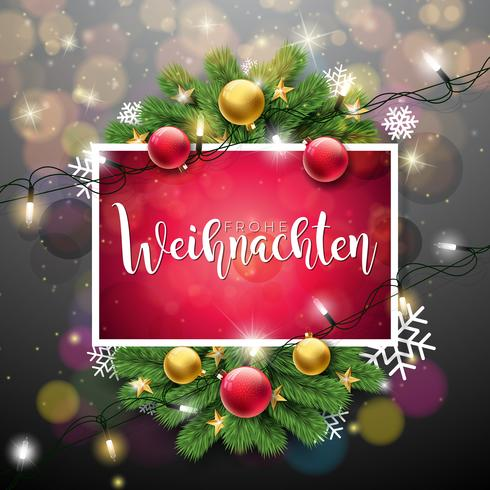 Christmas Illustration with Frohe Weihnachten Typography
