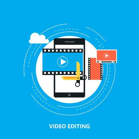 Videobewerking mobiele applicatie, videoproductie vector