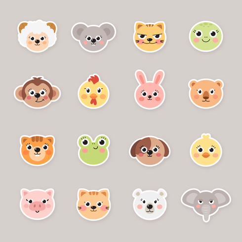 Cartoon Animal Face Stickers - Download Free Vector Art, Stock Graphics & Images