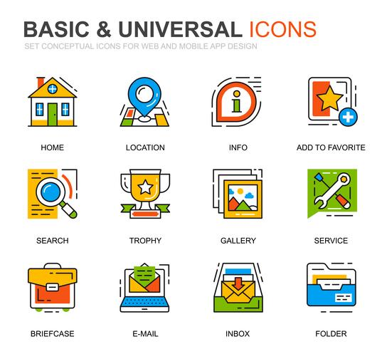 Einfaches Set Basic Line Icons für Website und Mobile Apps