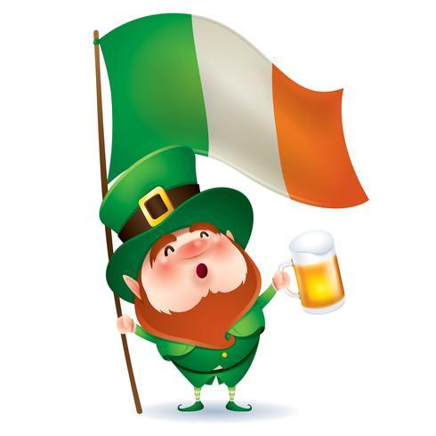 cartone animato Leprechaun tenendo boccale di birra