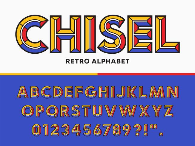 mejsel retro alfabet vektor