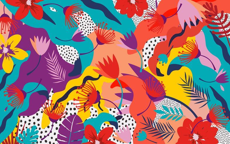 Fondo de hojas y flores de selva tropical. Diseño colorido cartel tropical