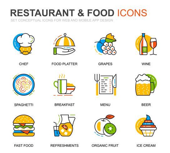 Enkel uppsättning restaurang- och matlinjeikoner för webbplats- och mobilapplikationer