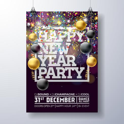 New Year Party Poster Illustration  vector