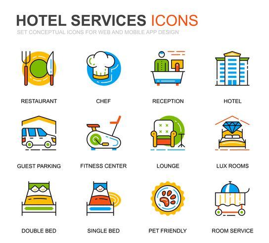Einfaches Set Hotel Service Line Icons für Website und Mobile Apps