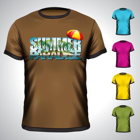 T-Shirt eingestellt mit Sommerferienillustration.