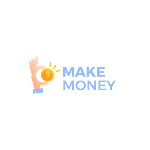 Transfer money logo. Gold dollar coin with hands businessman.