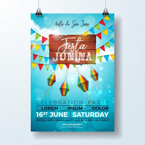 Festa Junina Party Flyer Illustration