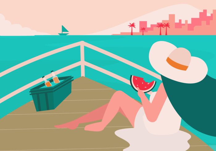 Garota comendo melancia, aproveitando o verão em ilustração vetorial de barco