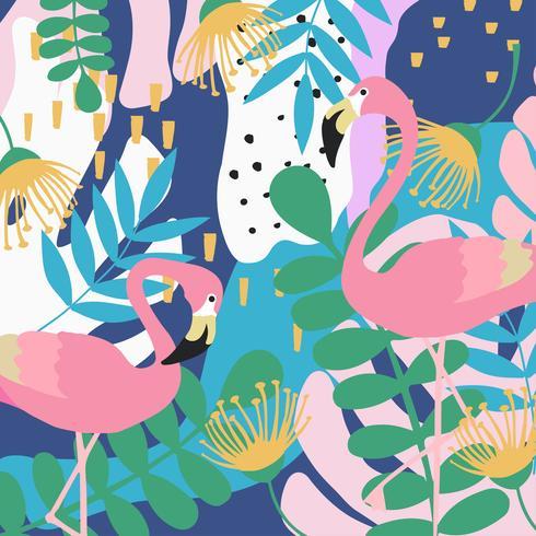 Fondo de cartel de hojas y flores de selva tropical con flamencos vector