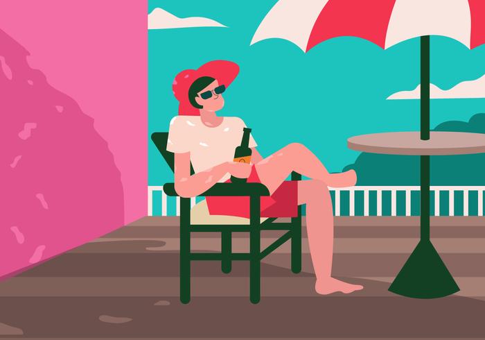 Niño bebe soda disfrutando de la ilustración vectorial de verano