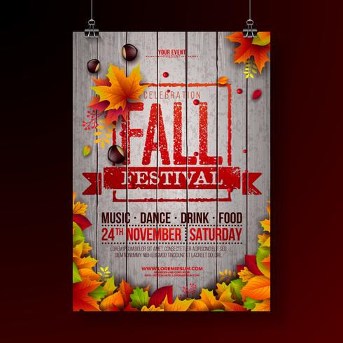 Fall Festival Party Flyer Illustration