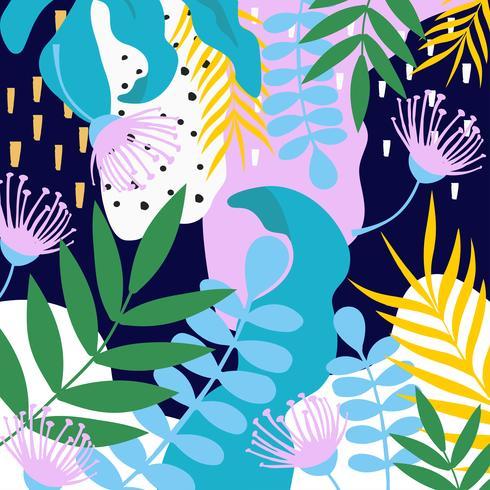 Fondo de hojas y flores de la selva tropical vector