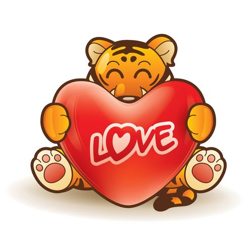 Tigre abraçando um coração