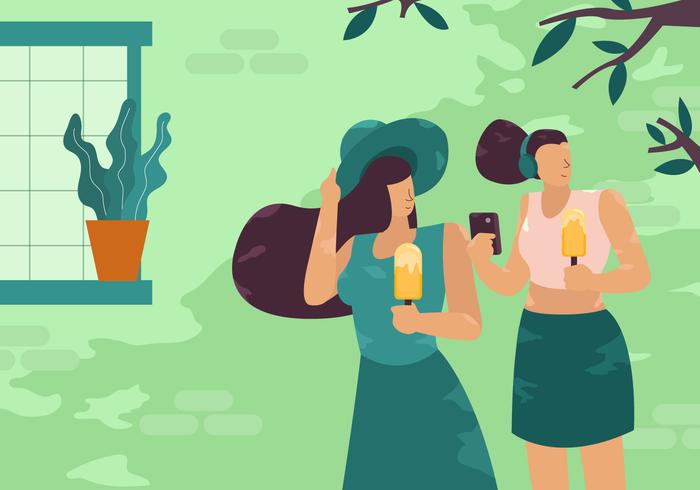 Chicas disfrutando de vacaciones de verano al aire libre ilustración vectorial