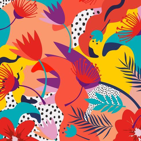 Tropische jungle bladeren en bloemen achtergrond. Kleurrijk tropisch posterontwerp