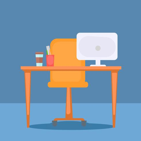 Office with table, computer and office stuff. Vector flat illustration
