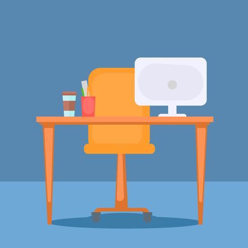 Kantoor met tafel, computer en kantoorspullen. Platte vectorillustratie