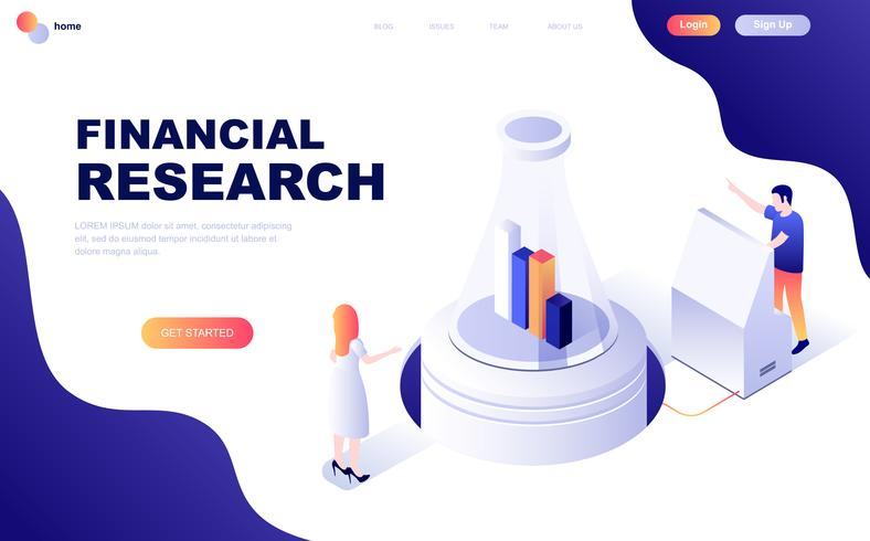 Conceito isométrico moderno design plano de pesquisa financeira