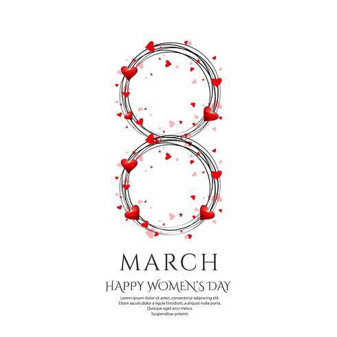 Cartel del día internacional de la mujer. Diseño de origami de 8 números