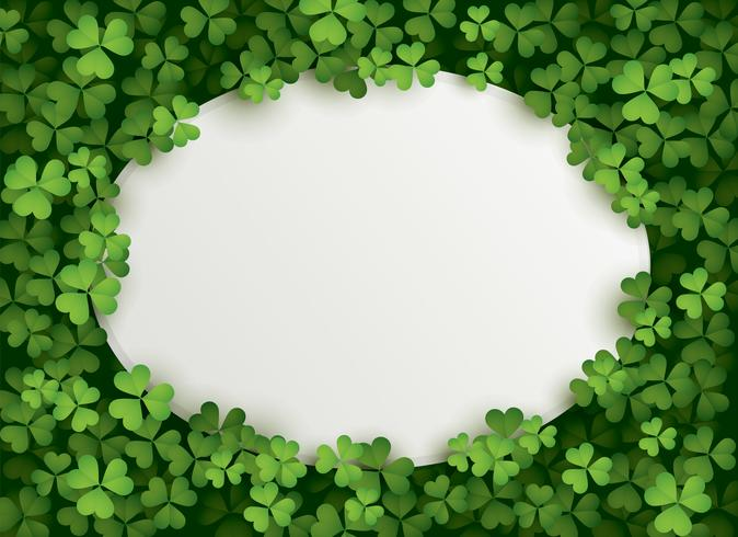 Clover leaves background with blank card