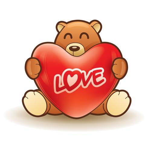 Teddy bear hugging a heart vector