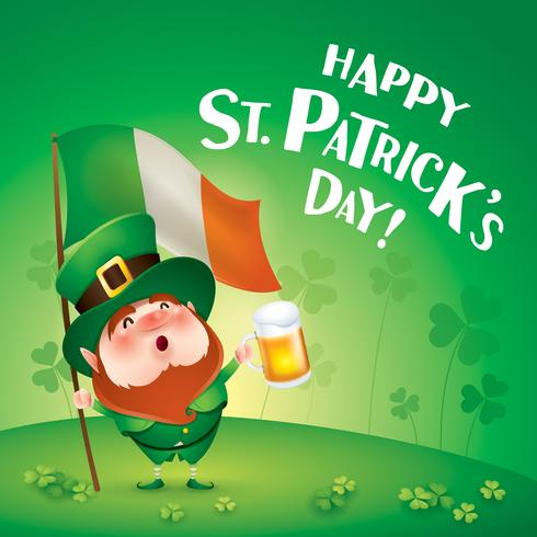 leprechaun holding beer and Ireland flag vector
