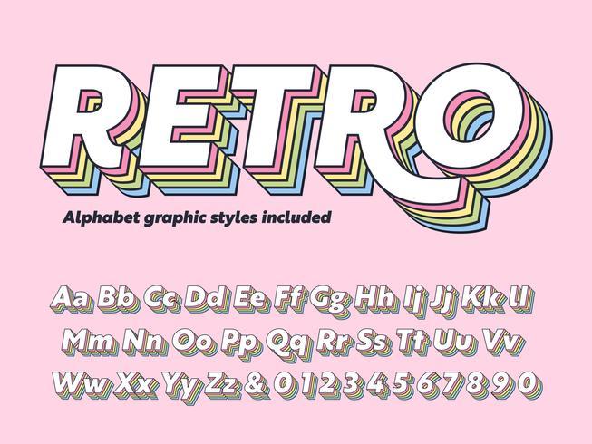 Vecteur d'alphabet rétro en couches