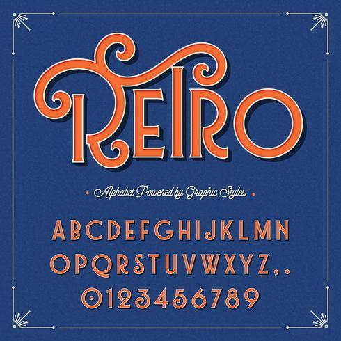 Retro vintage grafisk stil alfabet