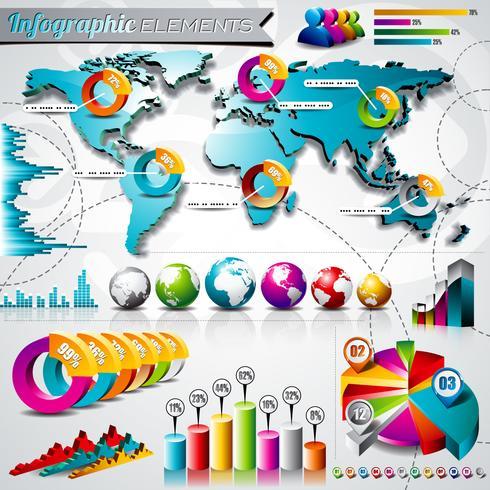 ontwerpset van info grafische elementen vector