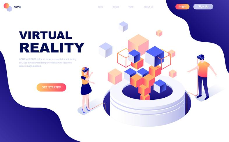 Conceito isométrica de design moderno plano de realidade virtual aumentada